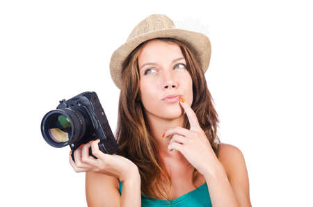 Attractive female photographer on white Stock Photo - 15926272
