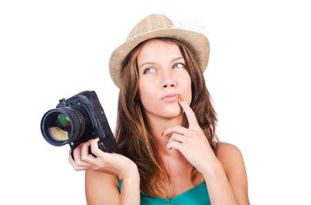 Attractive female photographer on white Stock Photo - 15926272