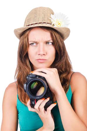 Attractive female photographer on white Stock Photo - 15926643