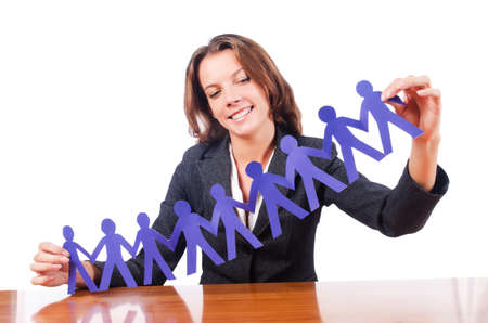 Woman with paper cut people Stock Photo - 15926326
