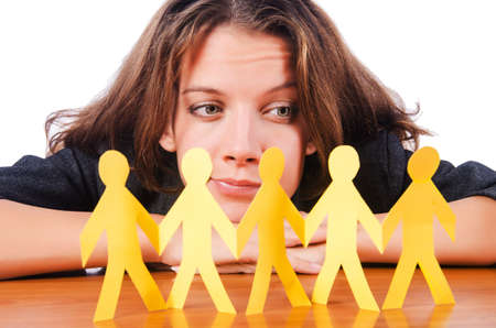 Woman with paper cut people Stock Photo - 16174241