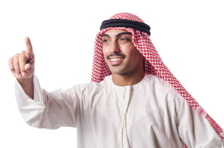 Arab pressing virtual buttons Stock Photo - 16064579