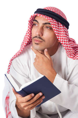 Arab man praying on white Stock Photo - 16064553