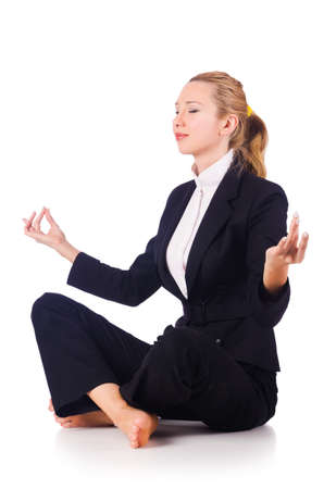 Young businesswoman meditating on the white photo