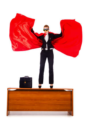 Superwoman standing on the desk Stock Photo - 16064600