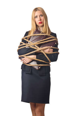 Woman businessman tied up with rope Stock Photo - 16064354
