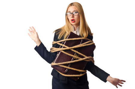 Woman businessman tied up with rope Stock Photo - 16064400