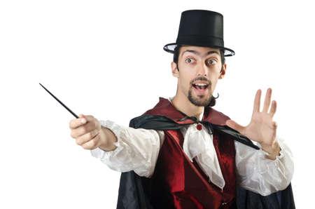 conjuror: Magician doing tricks on white Stock Photo