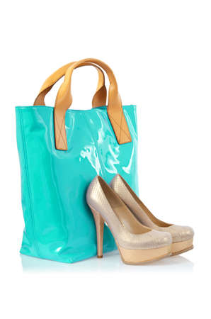 Elegant bag and shoes on white Stock Photo - 15995565