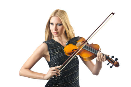 solo violinist: Woman playing violin on white Stock Photo
