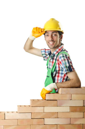 Builder with hard hat on white photo