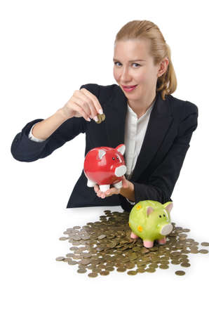 Woman breaking piggy bank for savings Stock Photo - 16174488
