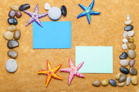 Blank message on sand and pebbles photo
