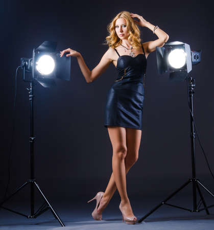 Young attractive woman in photo studio Stock Photo - 16064352