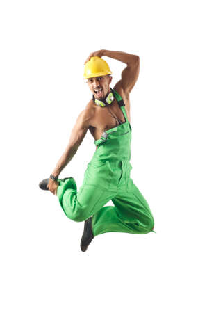 Construction worker jumping and dancing Stock Photo - 16064465