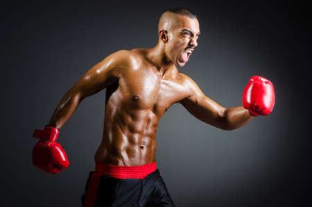 Muscular boxer in studio shooting photo