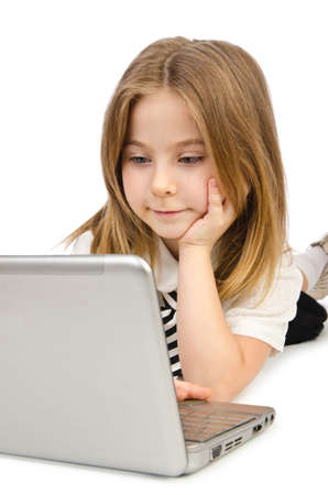Cute girl with laptop on white photo