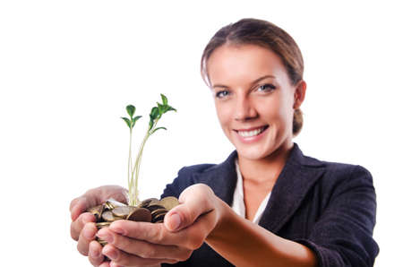 Businesswoman with seedling on white Stock Photo - 16064380