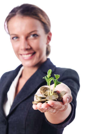 Businesswoman with seedling on white Stock Photo - 16143200