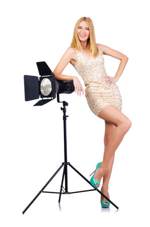 Attrative woman in photo studio Stock Photo - 16064476