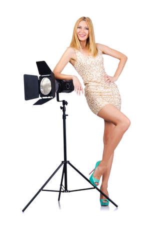 Attrative woman in photo studio Stock Photo - 16064476