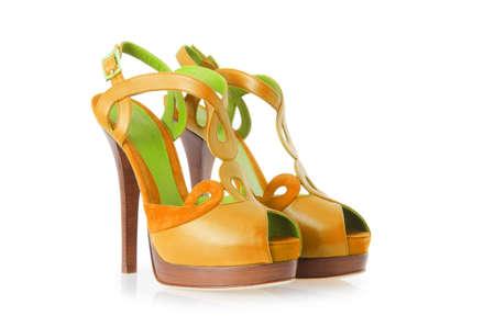 on high: Mujer zapatos aislados en blanco Foto de archivo