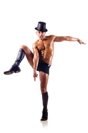 uomo nudo: Metà ballerina nuda isolato su bianco