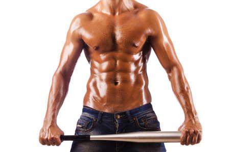 Muscular man with baseball bat Stock Photo - 16055615