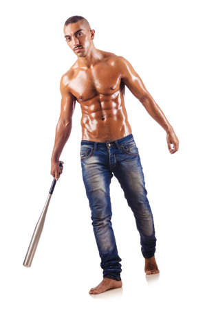 1 and group: Muscular man with baseball bat