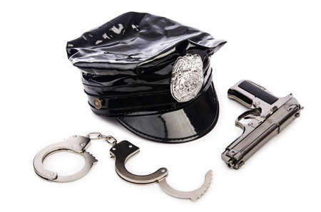 Police accessories isolated on white Stock Photo - 15997038
