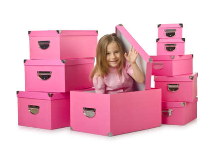 Little cute girl with lots of boxes Stock Photo - 16174505
