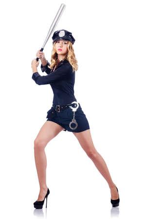 Woman police with baseball bat Stock Photo - 16064521