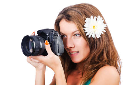 Attractive female photographer on white Stock Photo - 16098774