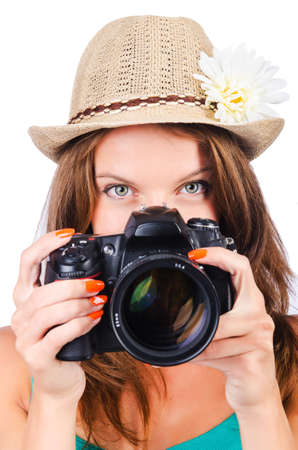 Attractive female photographer on white Stock Photo - 16100027