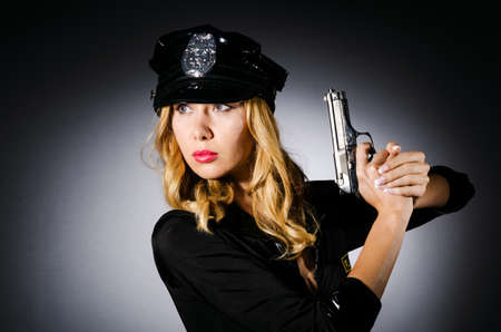 Young attractive woman police Stock Photo - 16098613