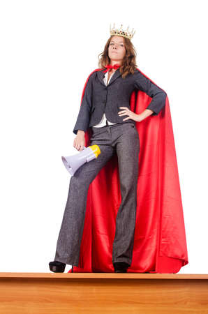 Businesswoman in superwoman concept photo