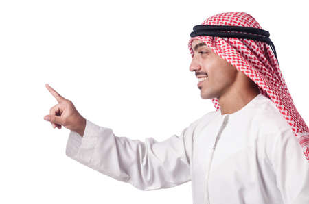 Arab pressing virtual buttons Stock Photo - 16064390