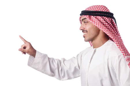 Arab pressing virtual buttons Stock Photo - 16064390