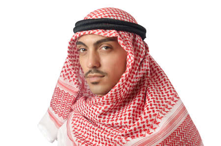 Diversity concept with arab on white Stock Photo - 16099838