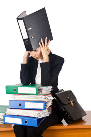 Woman with lots of work photo
