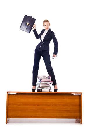 Dominant woman boss standing on desk
