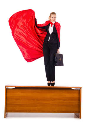 Superwoman standing on the desk Stock Photo - 16064398