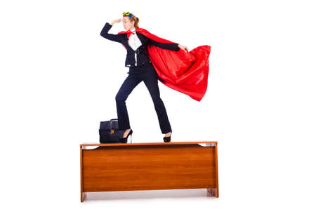 Superwoman standing on the desk Stock Photo - 16064462