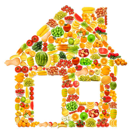 Silhoette made from vaus fruits and vegetables Stock Photo - 16123838