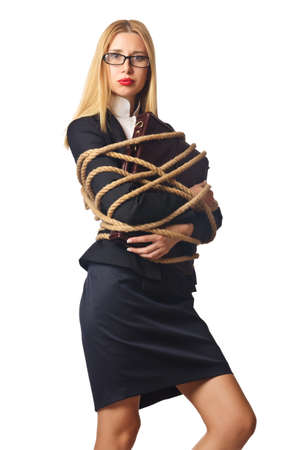Woman businessman tied up with rope Stock Photo - 16178427