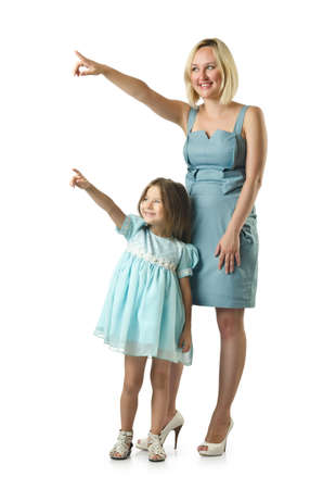 kid pointing: Mother with daughter isolated on white