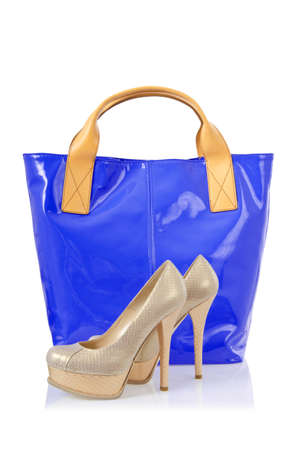Elegant bag and shoes on white Stock Photo - 16178638