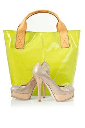 Elegant bag and shoes on white Stock Photo - 16125211