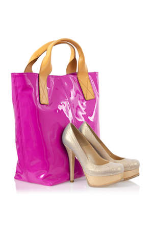 Elegant bag and shoes on white Stock Photo - 16160495