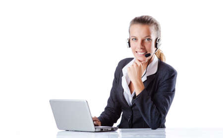 Female helpdesk operator on white Stock Photo - 16178166